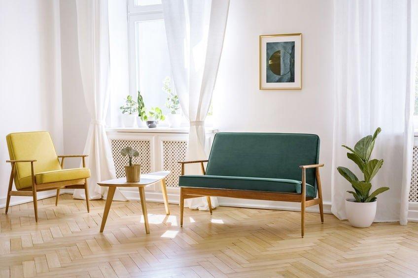 Herringbone floor living room
