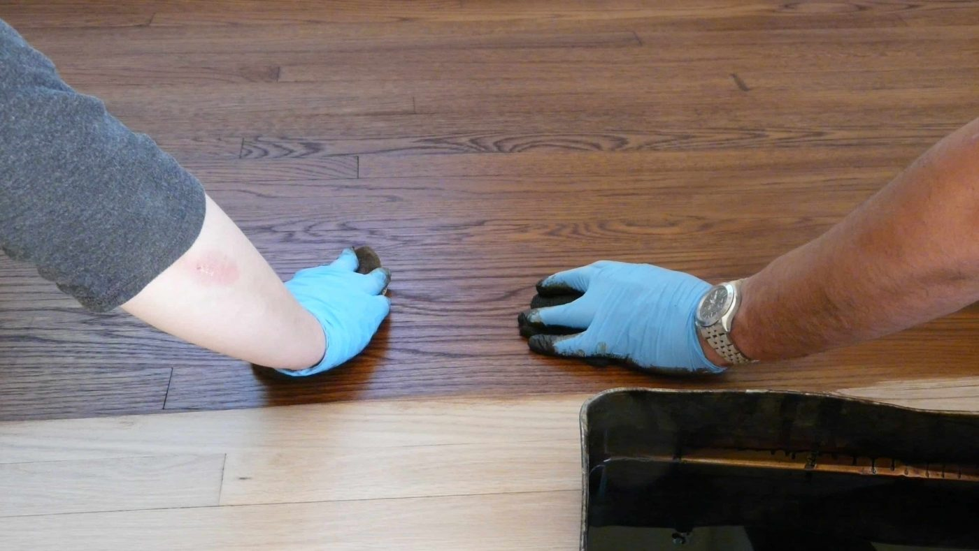 Applying finish to unfinished wood flooring