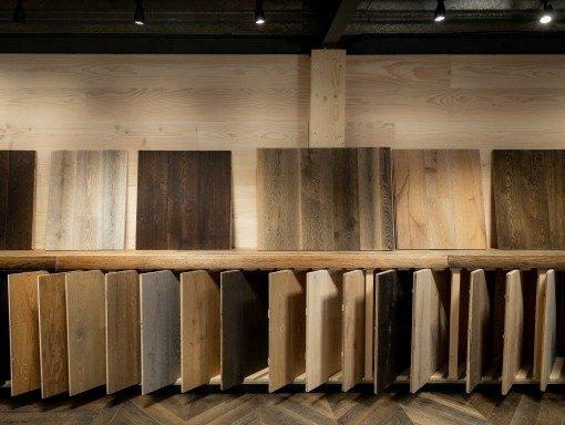 Hardwood sample boards at The Naked Floors East Sussex Showroom